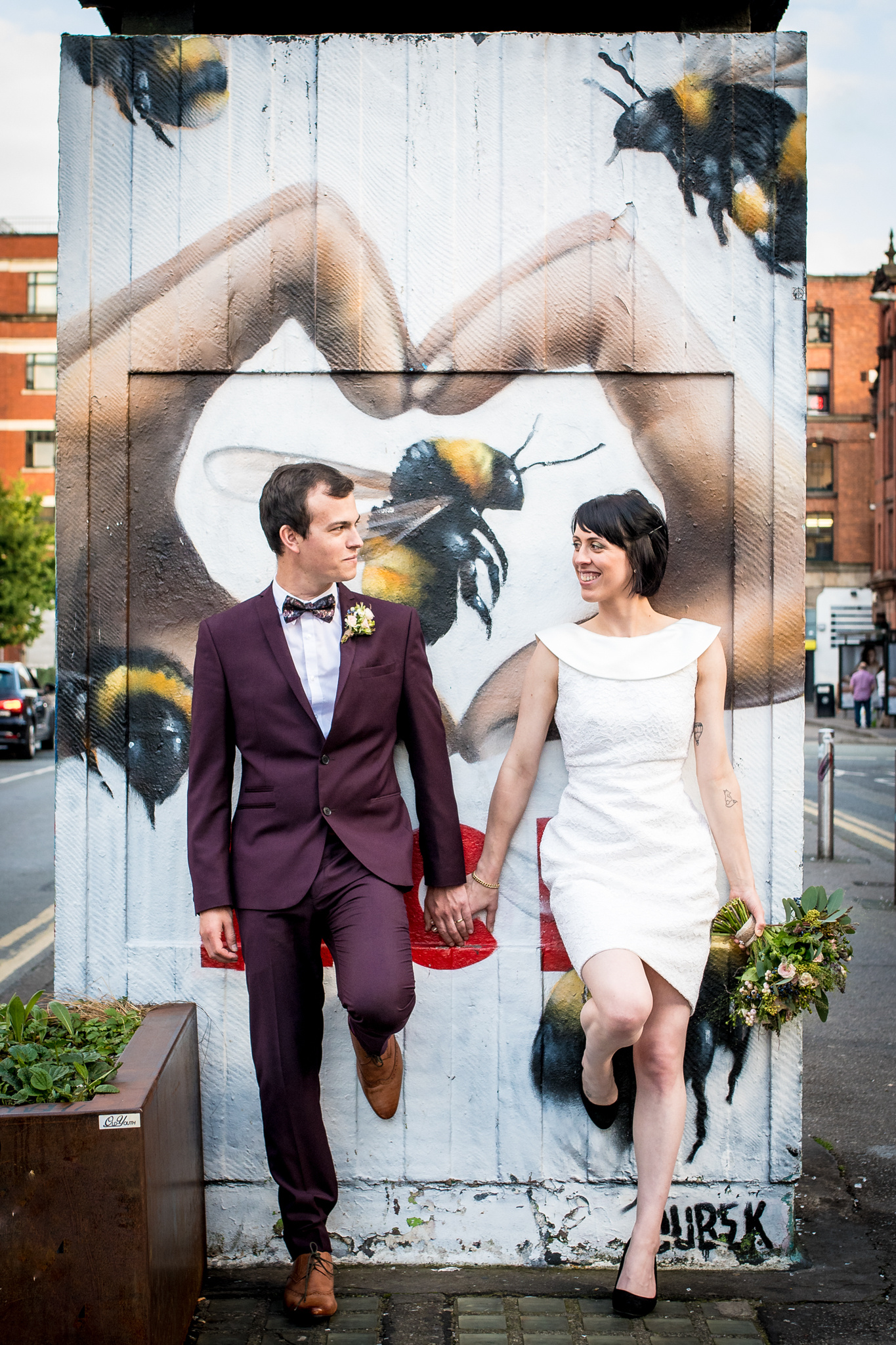 Bride and Groom by the manchester Bee in Manchesters Northern Quater