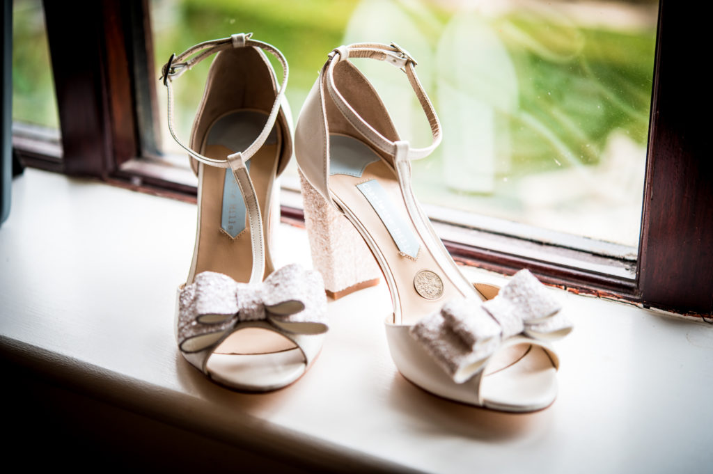 Bridal Shoes with built in Silver sixpence.