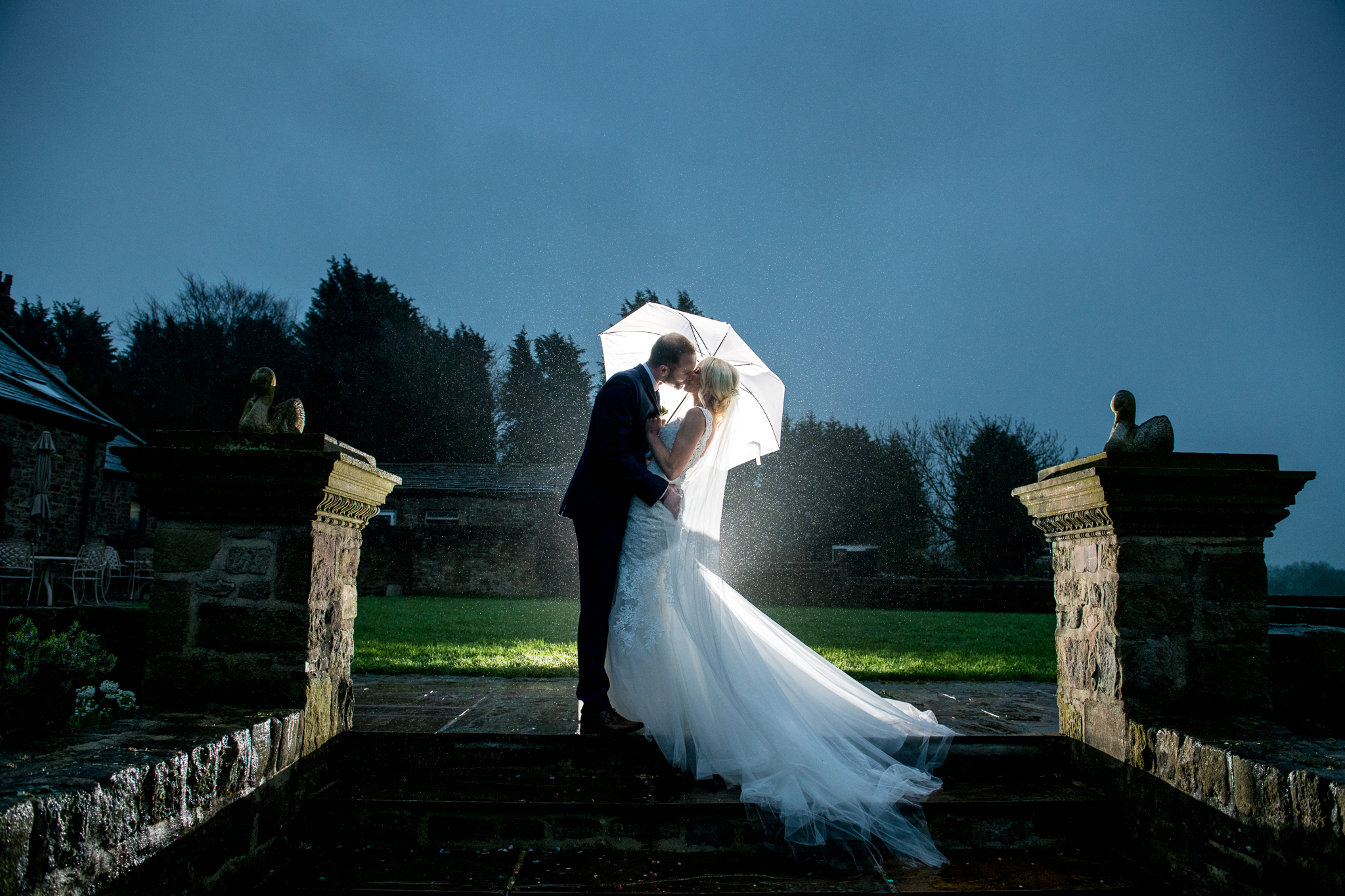 Bride & Groom in Rain