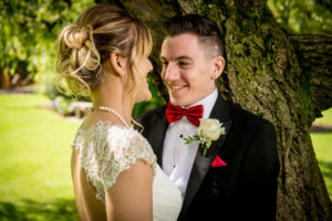 Bride and Groom Together in Garden