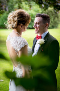 Bride and Groom Share a moment