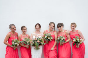 Bridesmaids with bride before the wedding