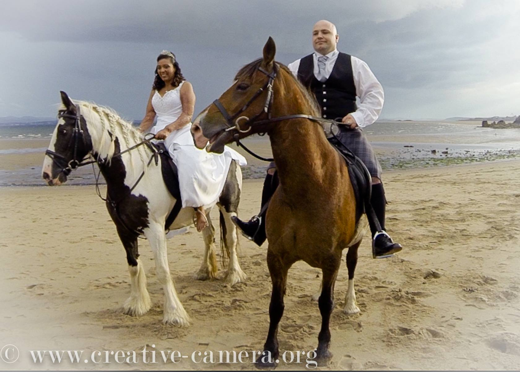 Bride and Groom on horse