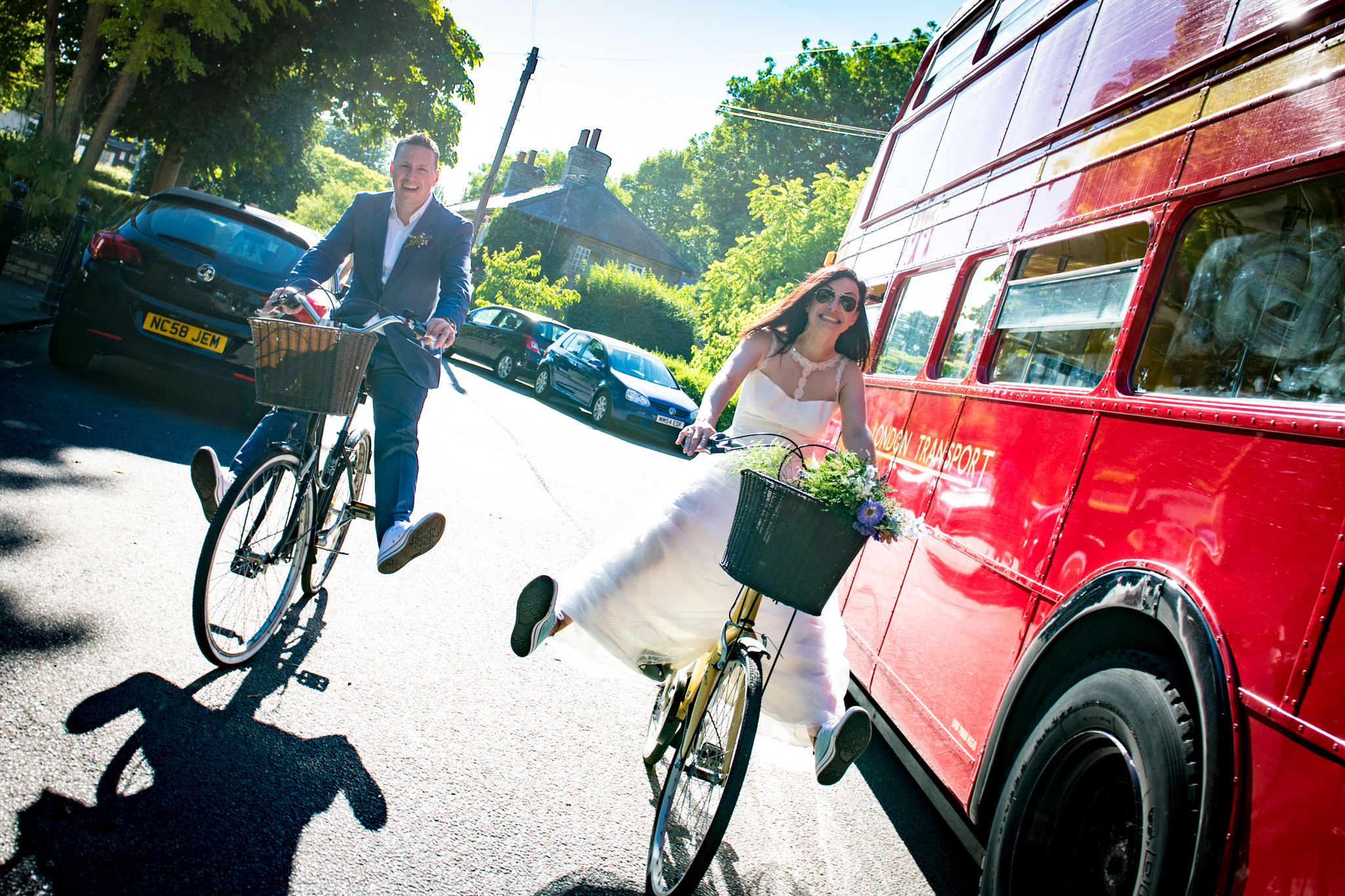 Bride and Groom on bicyles