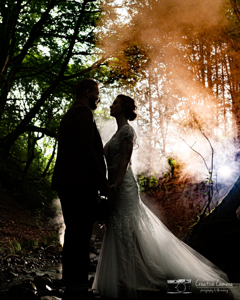 In the Forrest At the Wellbeing Farm. Styled Boho Shoot, smoke bombs